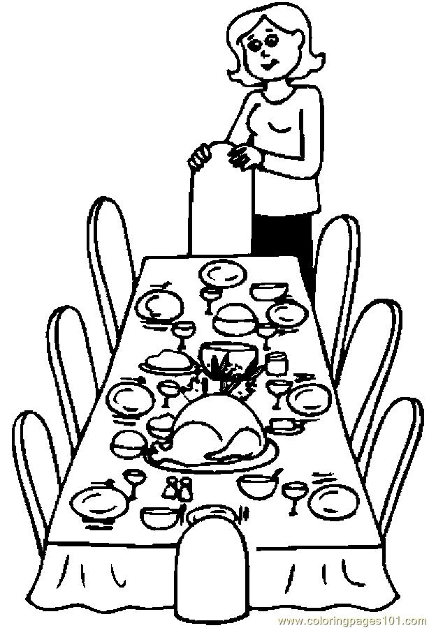 Dinner Table Coloring Page - Free Thanksgiving Day Coloring Pages ...