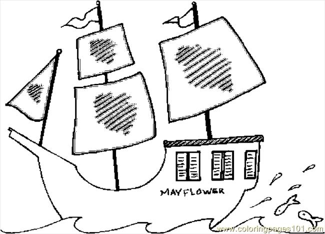 Pilgrims Mayflower Coloring Page, Free colonial life coloring pages