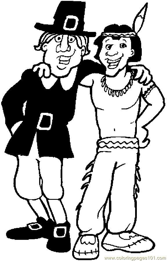 Native American & Pilgrim 6 Coloring Page