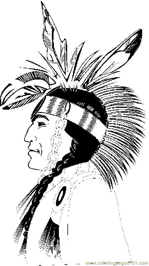 Native American Profile Coloring Page - Free Thanksgiving ...