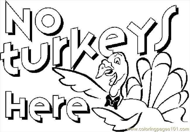 No Turkeys Here Coloring Page