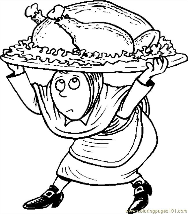 Pilgrim Carrying Turkey Coloring Page Color Online