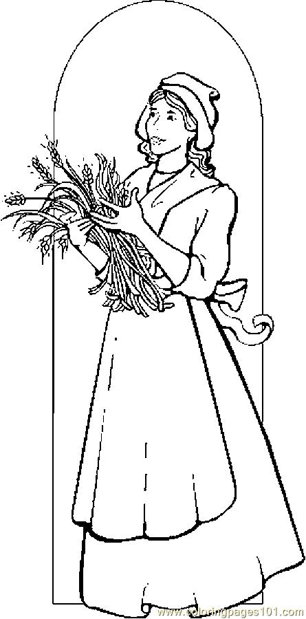 Pilgrim Woman 1 Coloring Page
