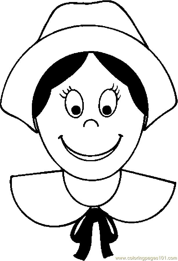 Pilgrim Woman 3 Coloring Page Free Thanksgiving Day