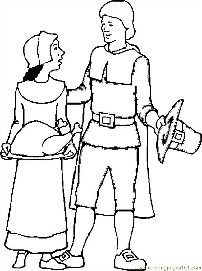 Pilgrims 3 Coloring Page