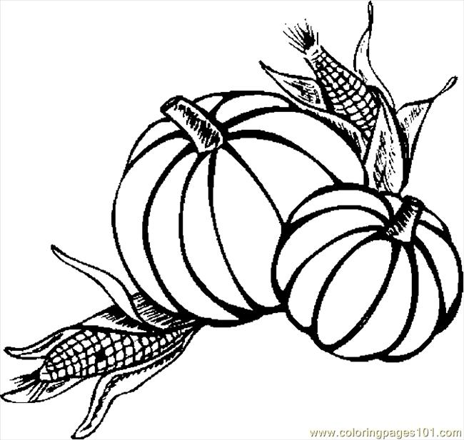 Pumpkins Amp Corn Coloring Page Free Thanksgiving Day