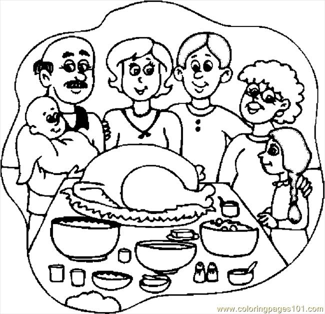 Thanksgiving Dinner 3 Coloring Page