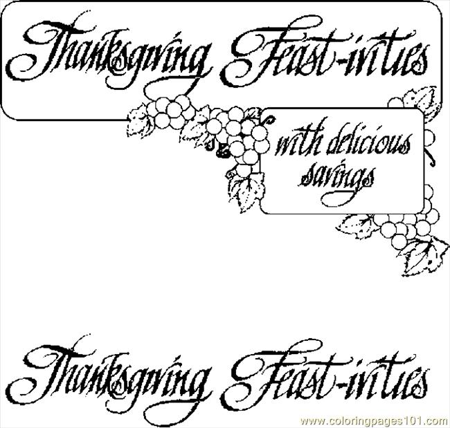 Thanksgiving Feast Ivities Coloring Page