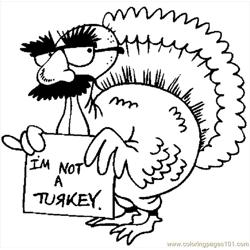 I'm Not A Turkey Free Coloring Page for Kids