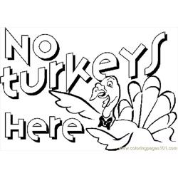 No Turkeys Here Free Coloring Page for Kids