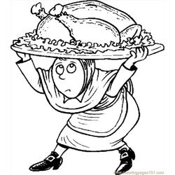 Pilgrim Carrying Turkey Free Coloring Page for Kids