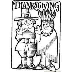 Thanksgiving Frame 2 Free Coloring Page for Kids