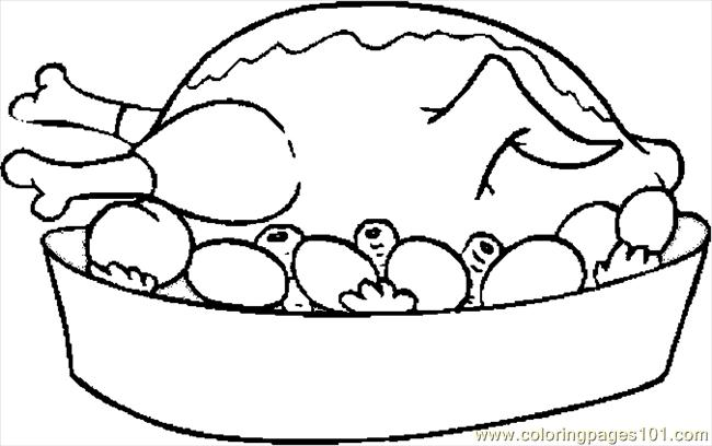 Turkey Cooked 08 Coloring Page Free Thanksgiving Day Coloring
