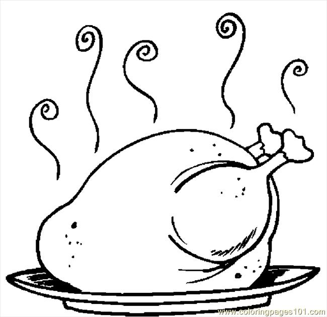 turkey cooked 17 coloring page - Turkey Color Pages 2