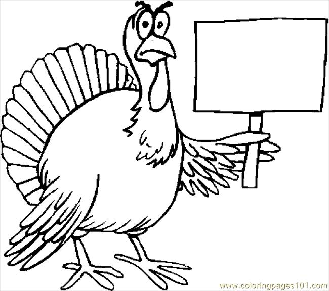 Turkey Protesting Coloring Page Free Thanksgiving Day
