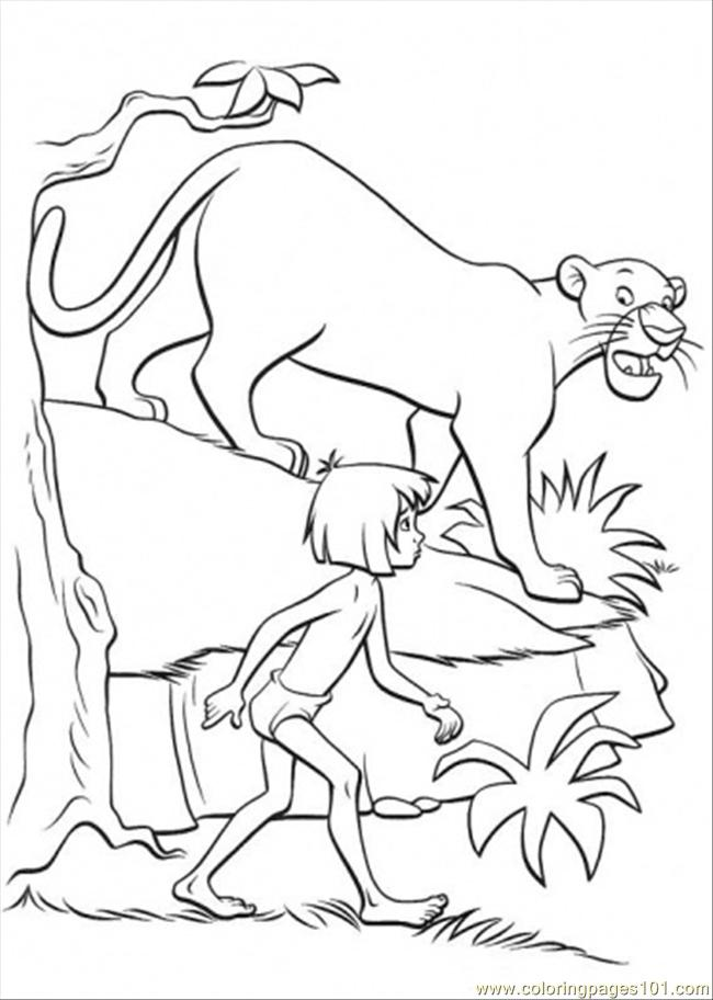 Bagheera And Mowgli Coloring Page