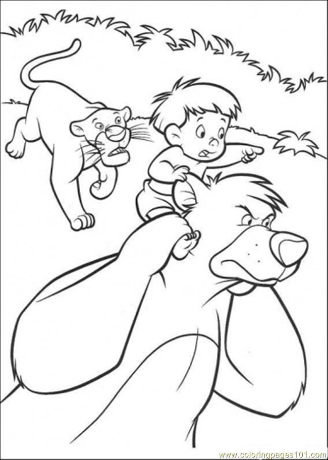 Baloo Bagheera And A Boy Is Running Together Coloring Page