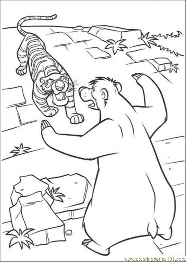 Baloo Fights With Share Khan Coloring Page