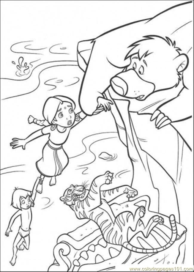 baloo try to catch the indian girl and mowgli coloring page