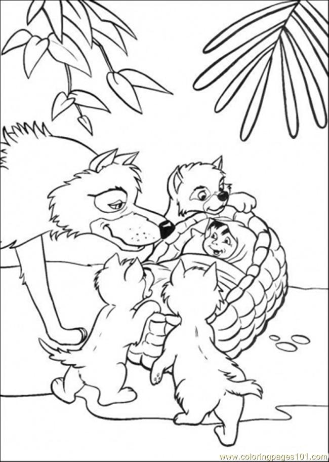 Father Wolf Finds Mowgli Coloring Page
