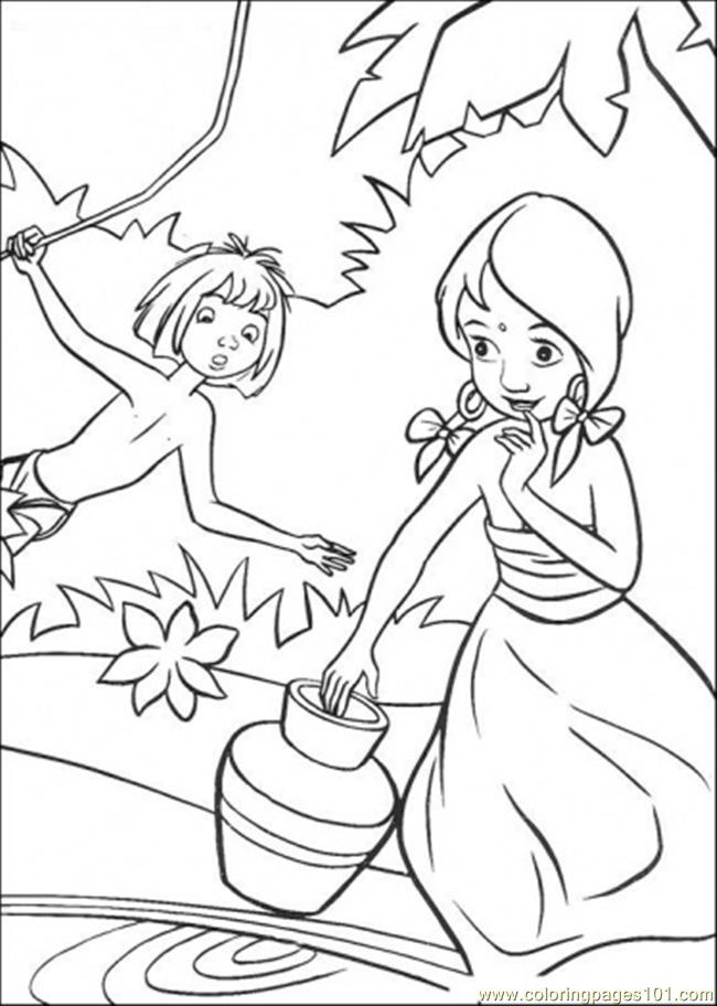 Indian Girl And Mowgli Coloring Page - Free The Jungle Book Coloring ...