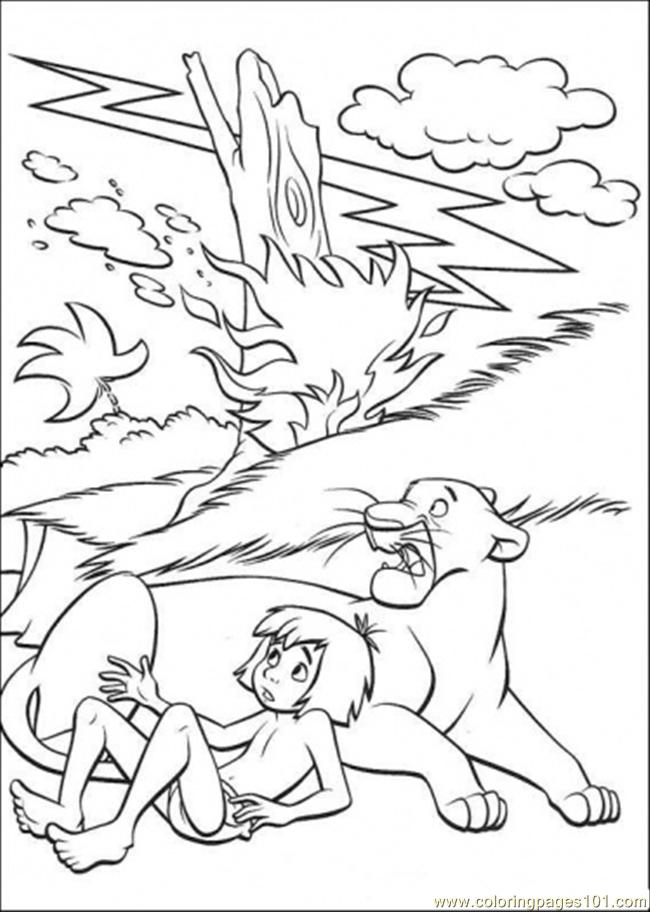 Mowgli And Bagheera Coloring Page