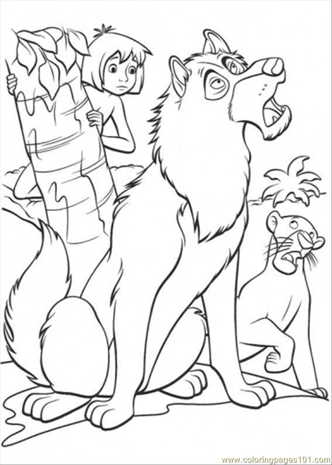 mowgli father wolf and bagheera coloring page