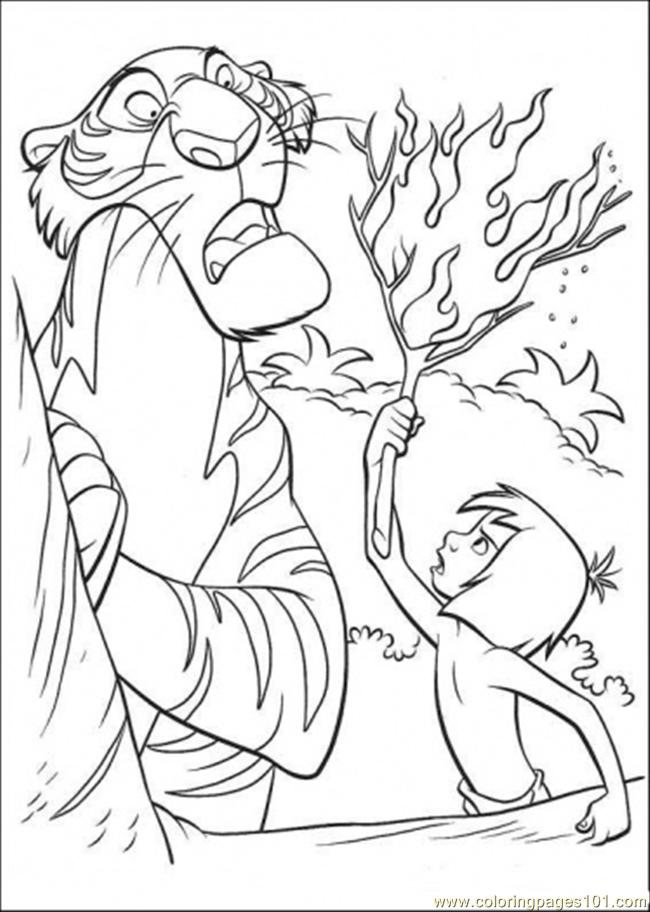 Mowgli Gives A Torch To Shere Khan Coloring Page