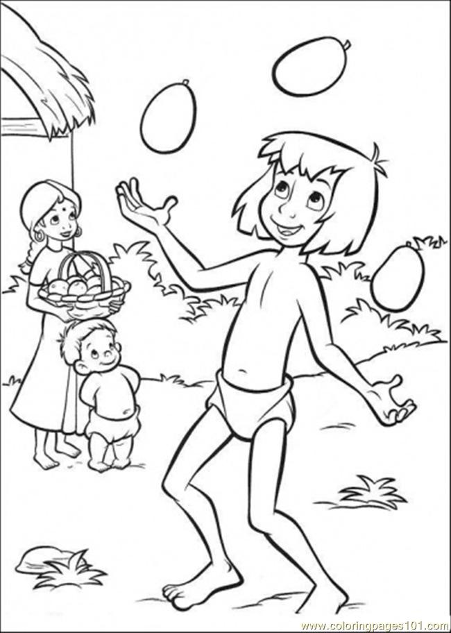 mowgli is playing with the mangos coloring page