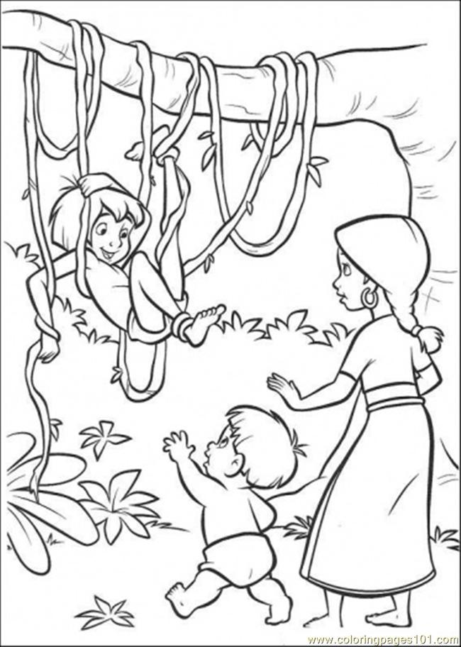 Mowgli With The Indian Family Coloring Page