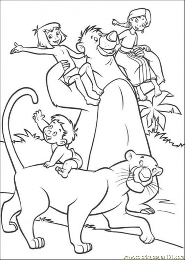 The Indian Family Mowgli Baloo And Bageera Coloring Page