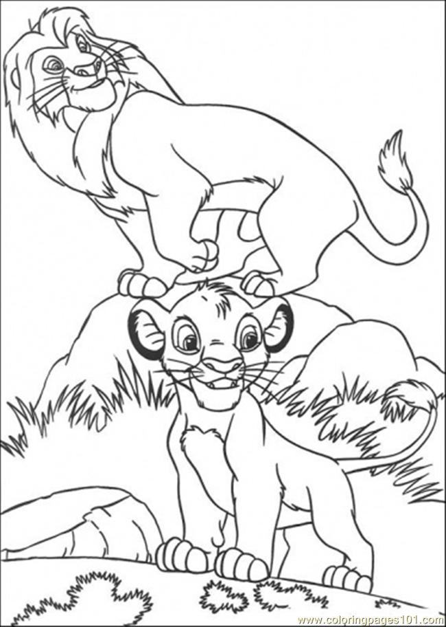musafa and simba coloring page - Simba Coloring Pages