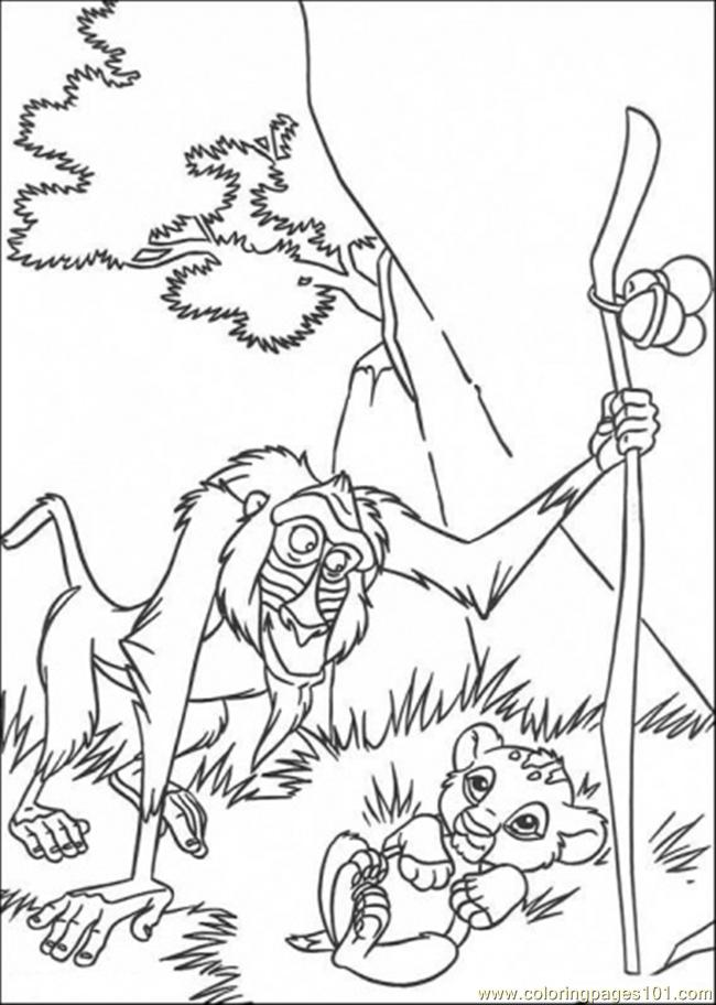 Rafiki And Baby Simba Coloring Page