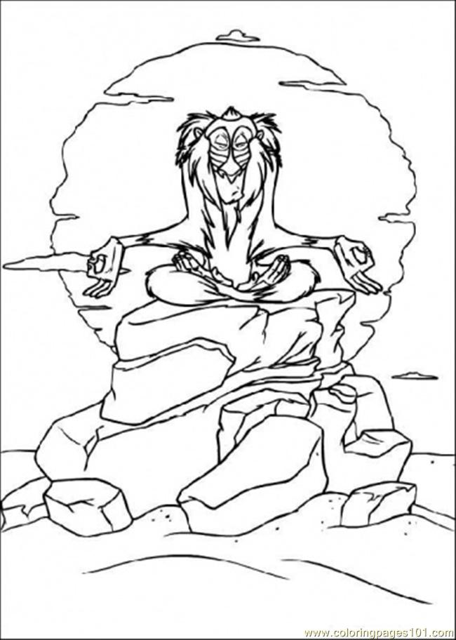 Rafiki Under The Moon Coloring Page