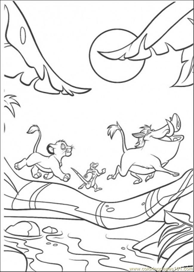 Walking Under The Moon Coloring Page Free The Lion King Coloring