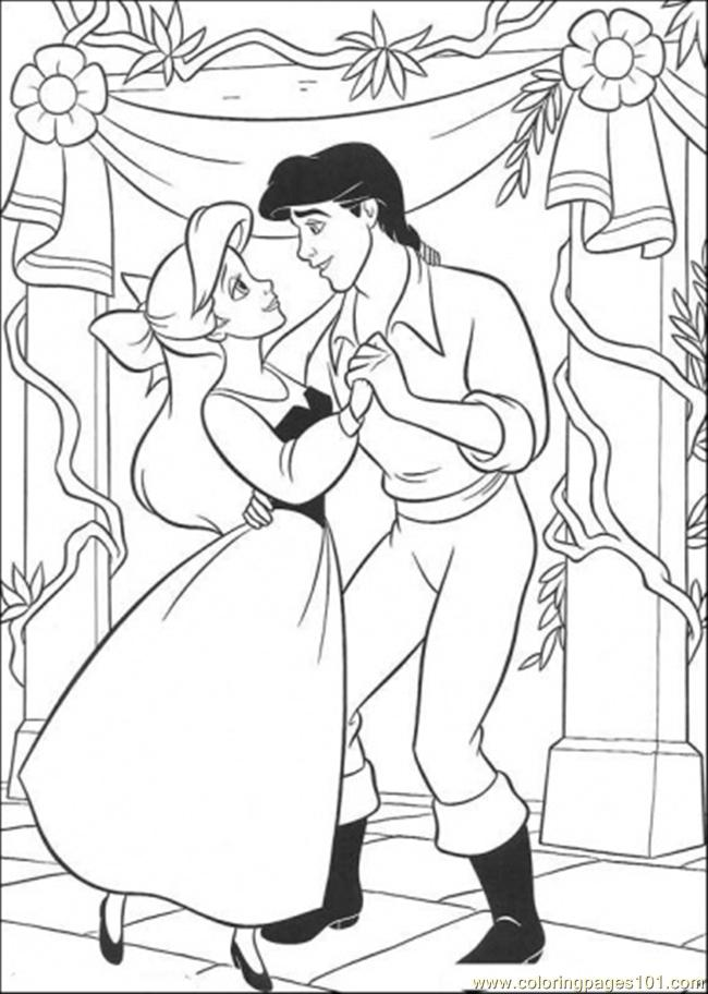 Ariel And Eric Are Dancing Coloring Page