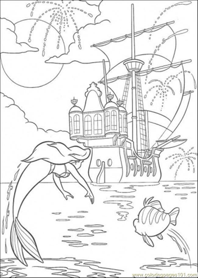 Ariel And Flounder Are Jumping Together Coloring Page