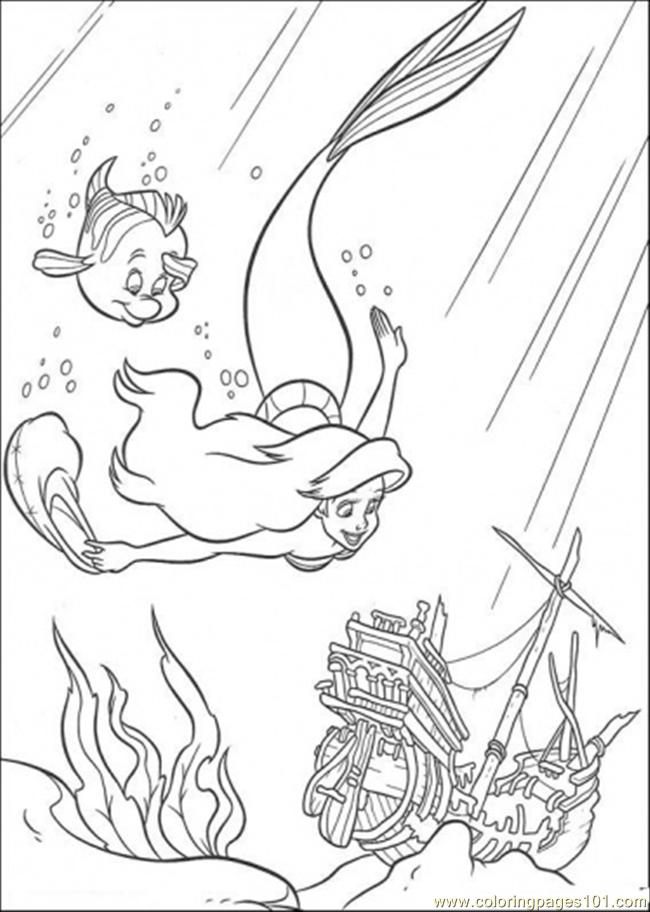 Ariel And Flounder Are Swimming Together Coloring Page