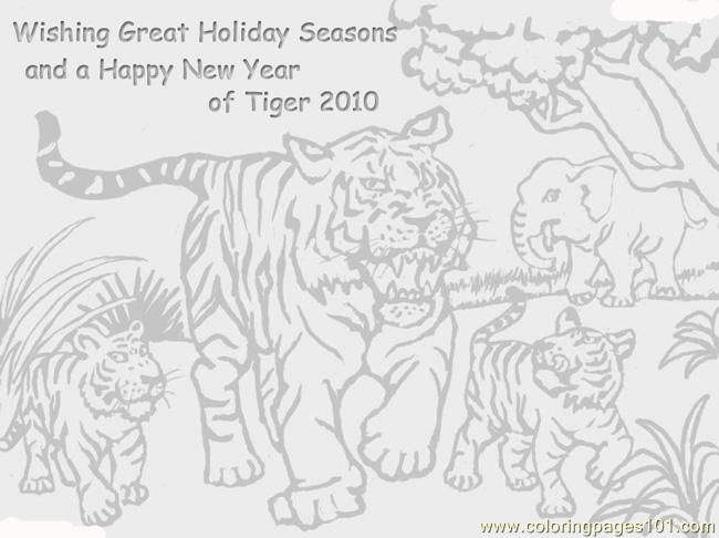 17 Season Greeting Tiger Coloring Page