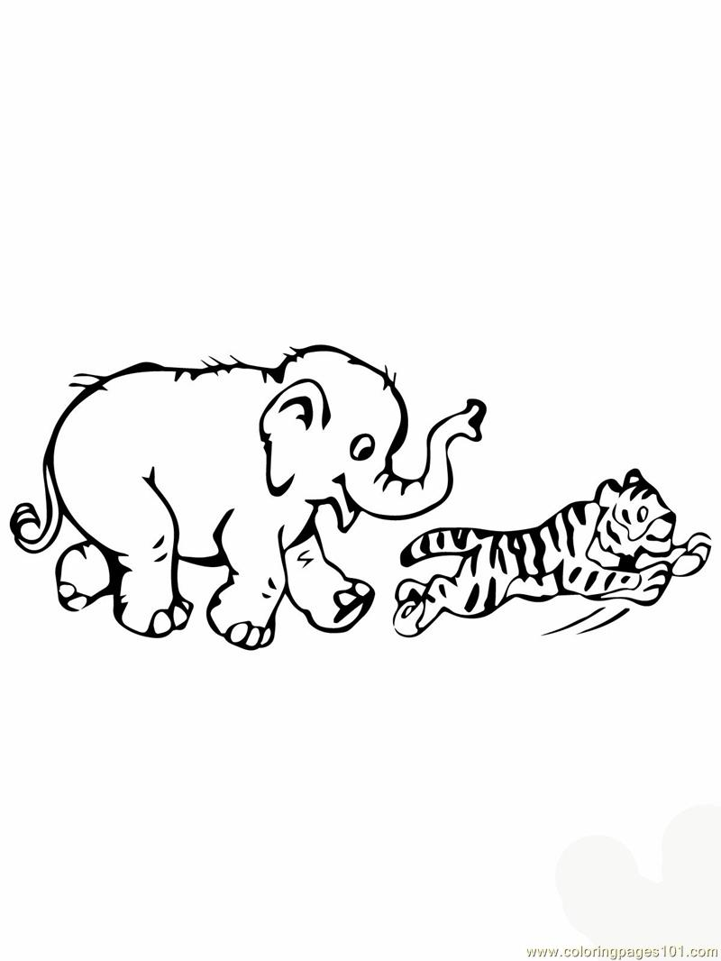 Tiger cub plays with baby elephant Coloring Page