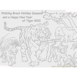 17 Season Greeting Tiger Free Coloring Page for Kids