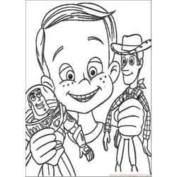 Andy Have Buzz Lighyear And Woody Sheriff Free Coloring Page for Kids