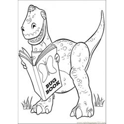 Rex Is Reading A Book Free Coloring Page for Kids