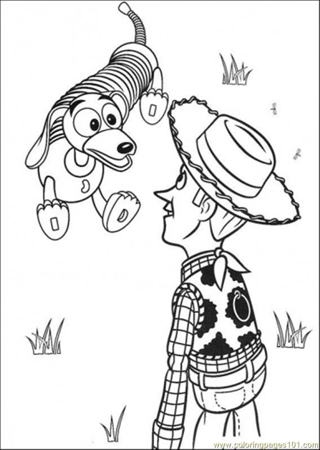 Woody Sheriff And Slinky Dog Coloring Page