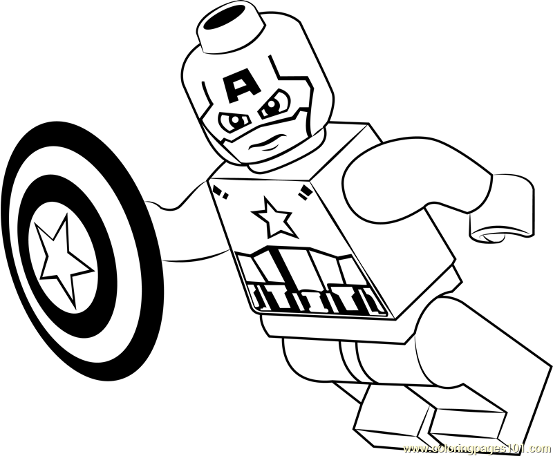 Lego Captain America Coloring Page Free Printable