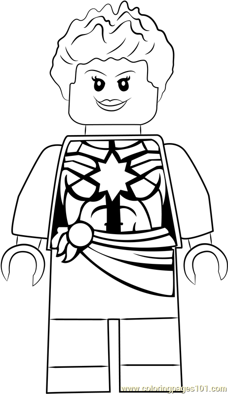 Lego Marvel Coloring Pages To Download And Print For Free: Lego Captain Marvel Aka Carol Danvers Coloring Page
