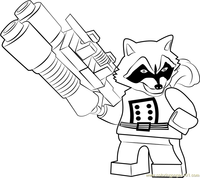Lego Rocket Raccoon Coloring Page