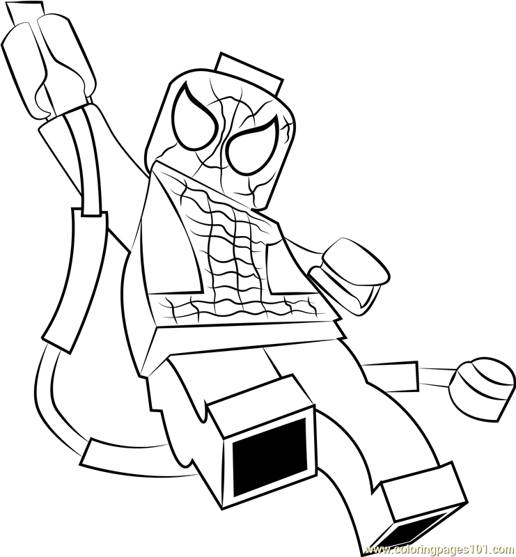 Lego Spider Man Coloring Page - Free Lego Coloring Pages :  ColoringPages101.com