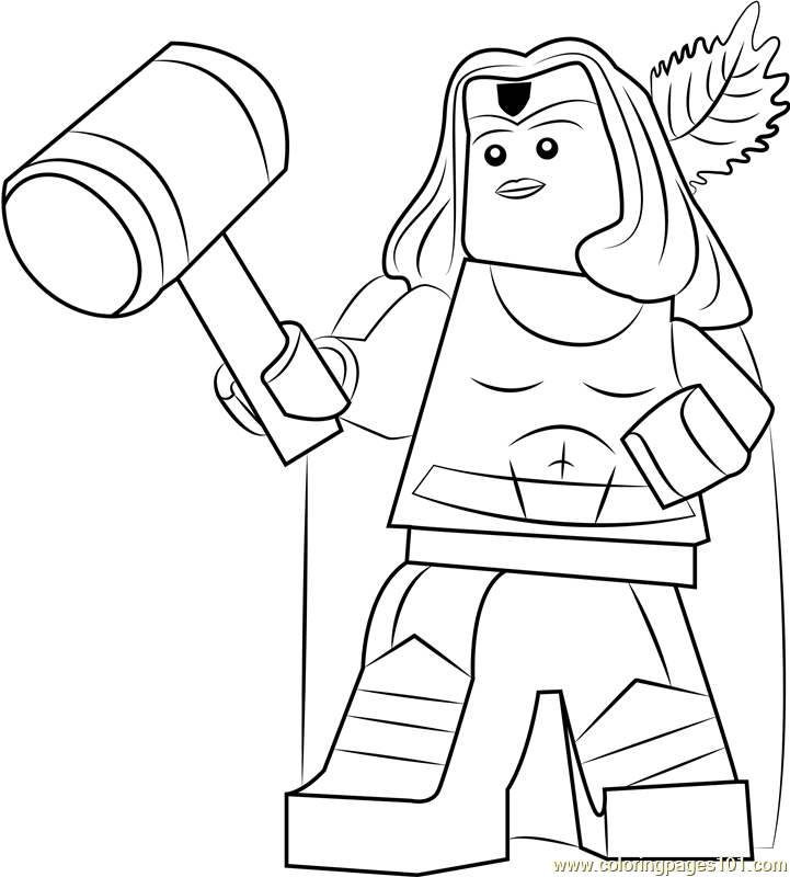 Lego Thor Girl Coloring Page Free Lego Coloring Pages