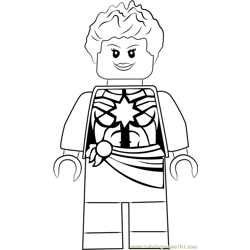 Lego Captain Marvel aka Carol Danvers Free Coloring Page for Kids